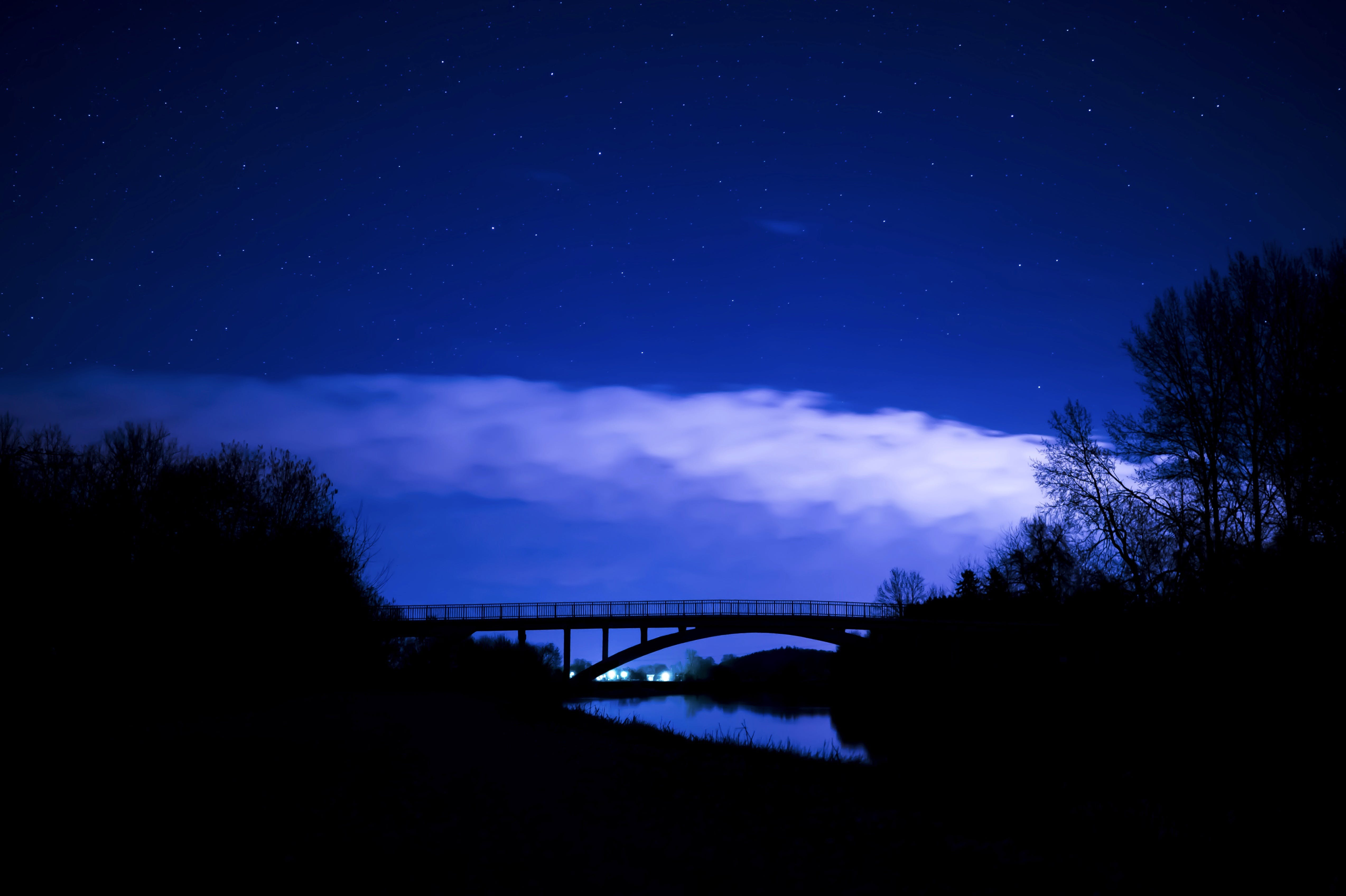 Silhouette Photo of Truss Bridge