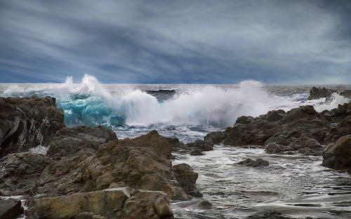 Foto profissional grátis de água, beira-mar, borrifar, cênico