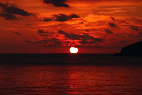 Free stock photo of beautiful sky, Beautiful sunset, red sunset, sea