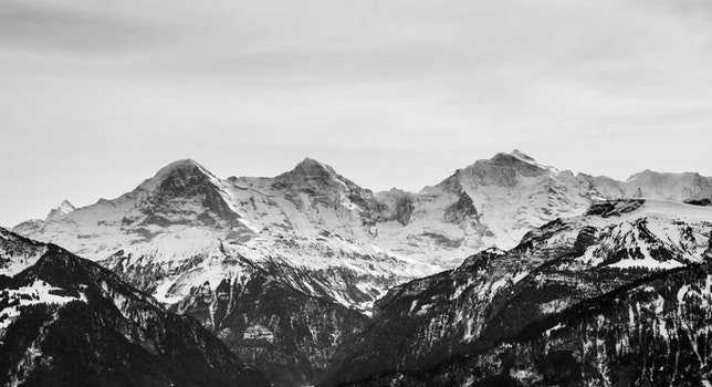 Desktop background of glacier, snow, black-and-white, landscape