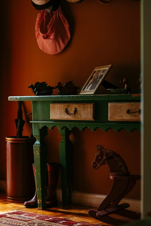 Green Wooden Table With Drawer