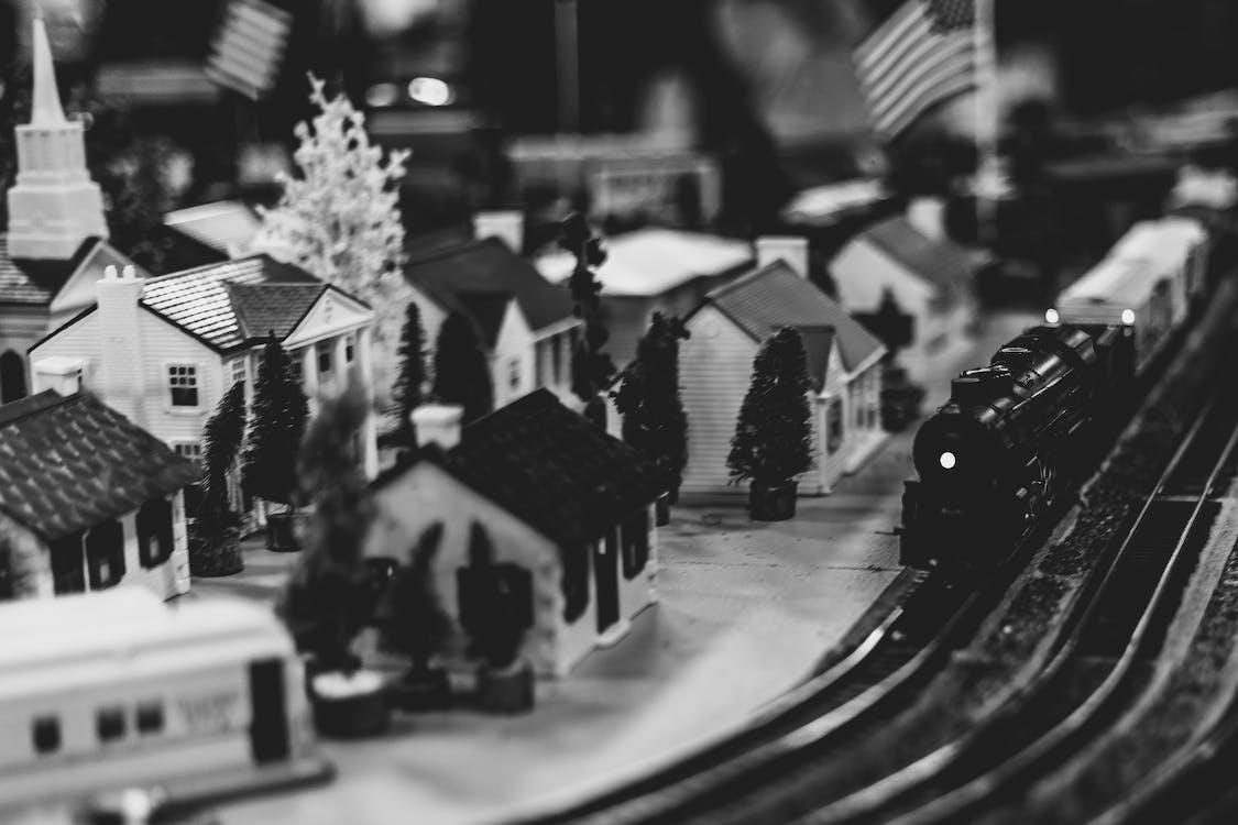 black and white, city, model city