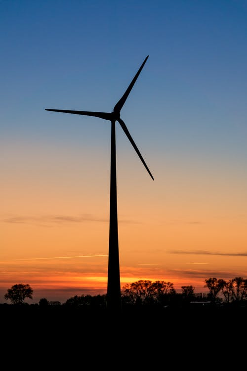 Silhouette of Turbine during Sunset