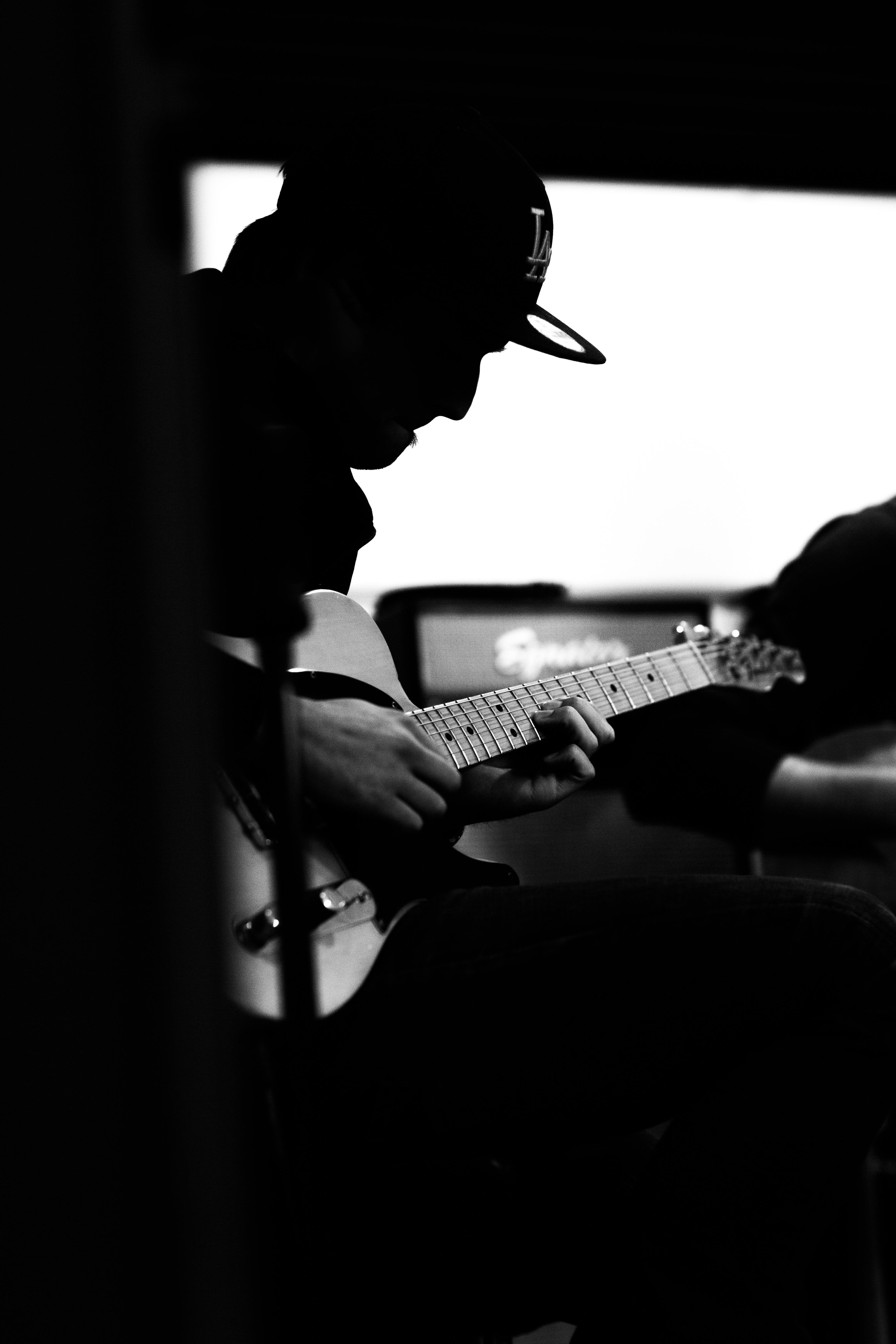 Free stock photo of amplifier, artists, black-and-white, electric guitar