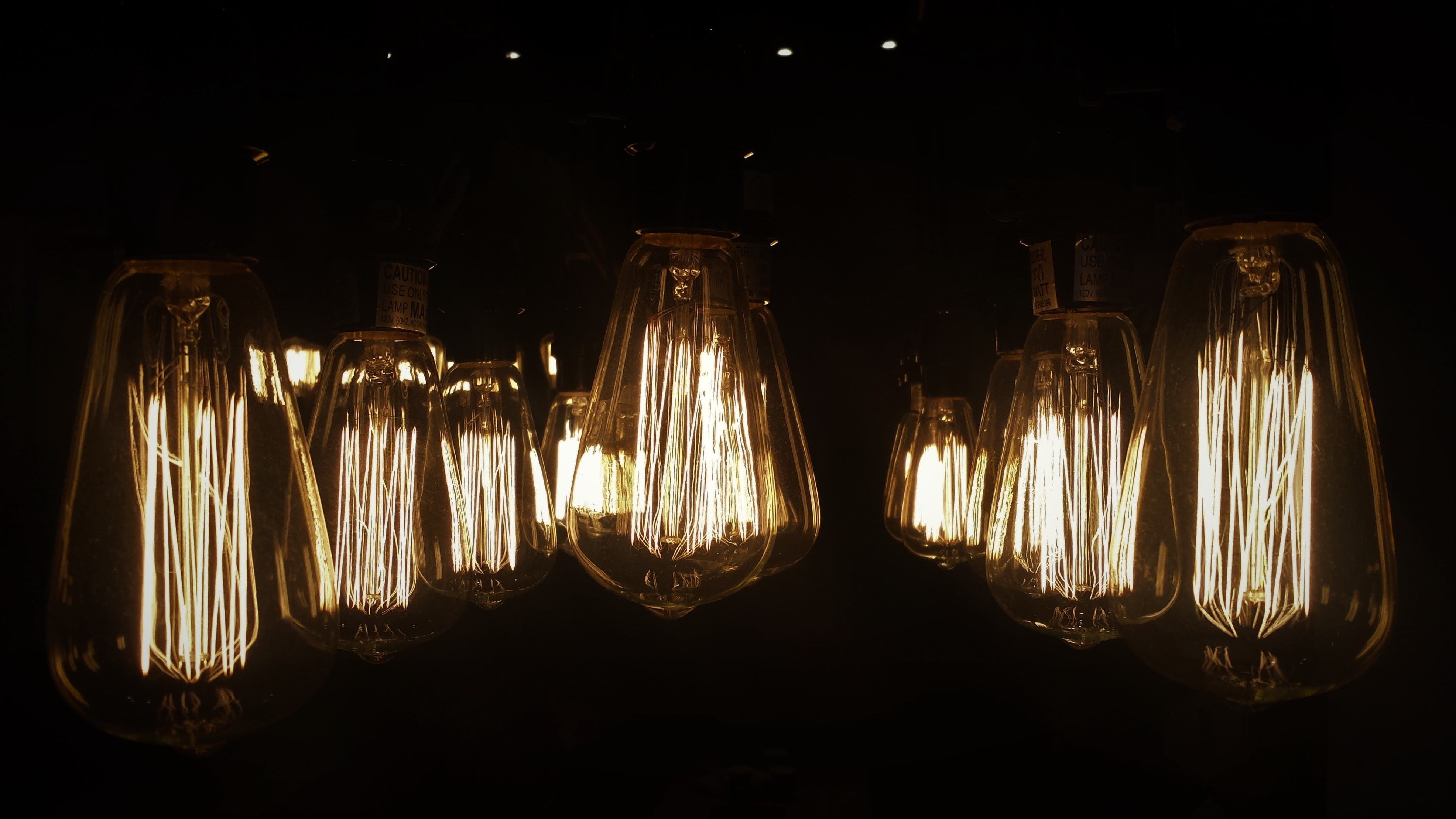 Light Bulbs during Night Time