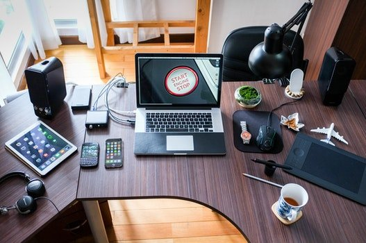Free stock photo of wood, coffee, apple, desk