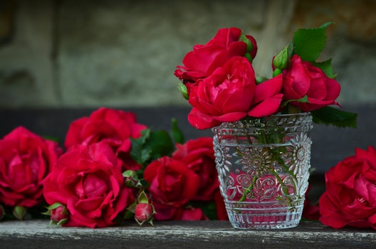 3 Red Rose on Glass Container