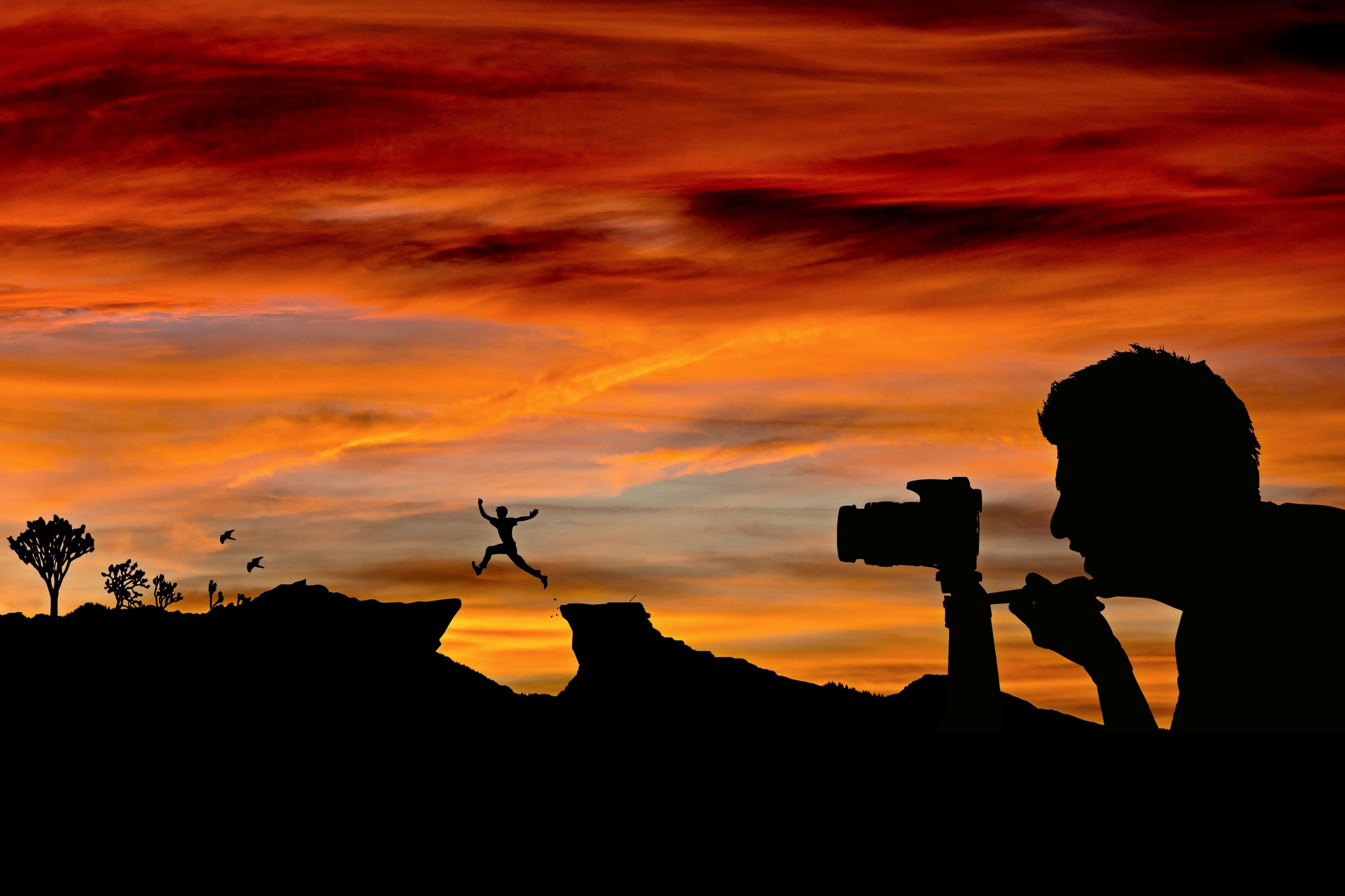 Free stock photo of nature, sunset, man, camera