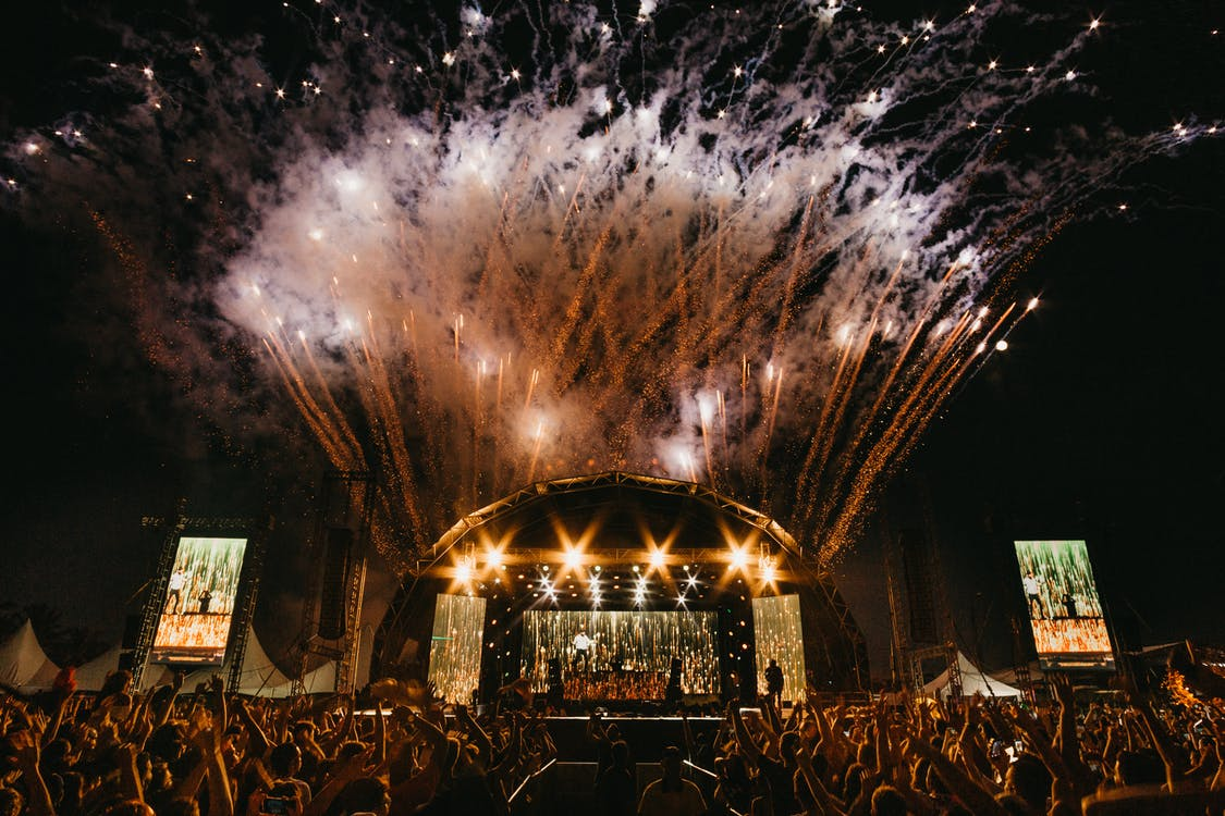 View of A Concert With Fireworks