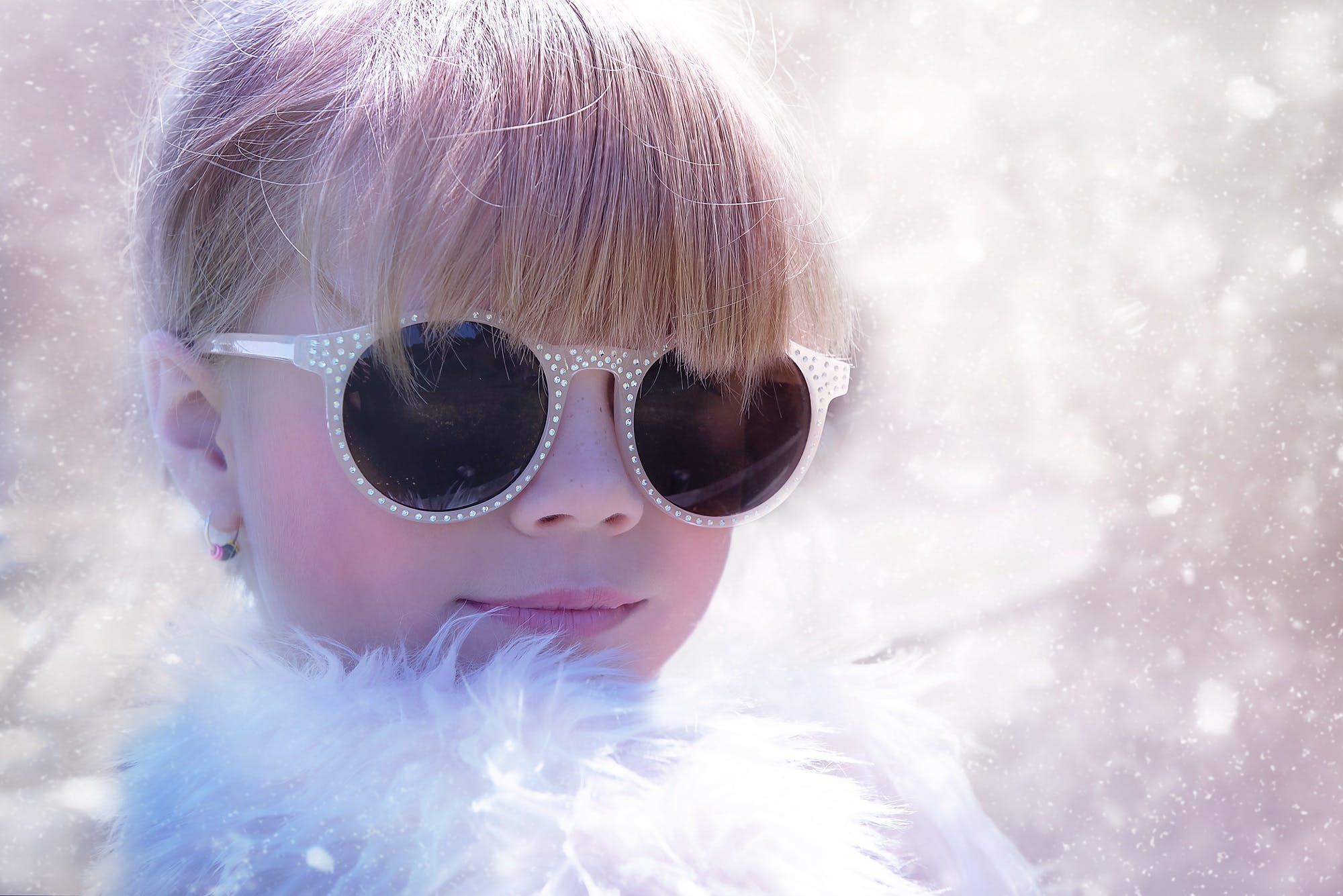 Woman With Sunglasses in White Fur Shirt