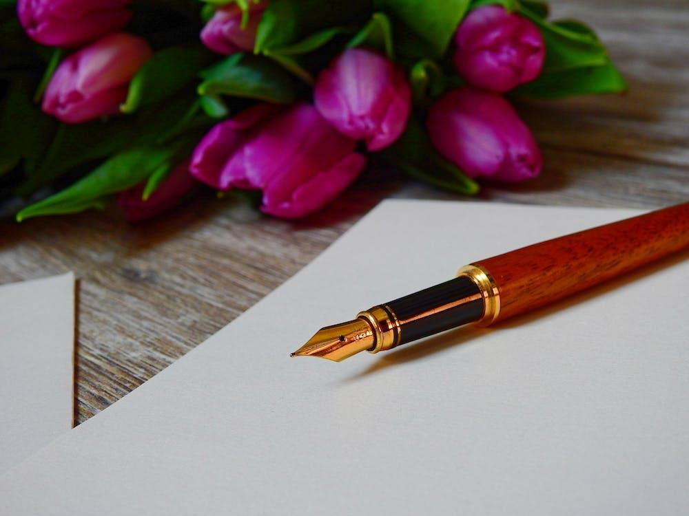 amor, buquê, caneta