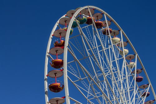 Low angle big Ferris wheel in amusement park spinning against cloudless blue sky