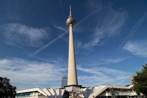 Exterior of Berlin TV tower against blue sky