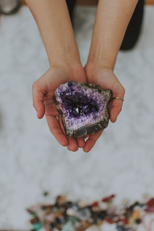 Person Holding Geode Stone