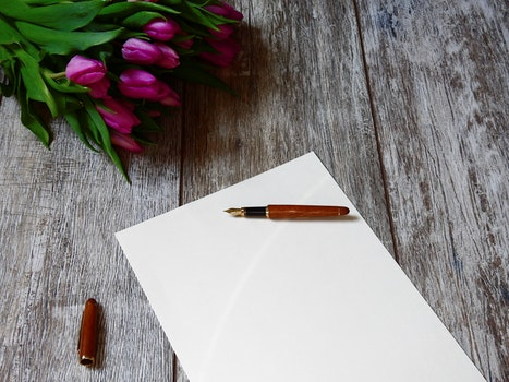 Free stock photo of flowers, desk, pen, table