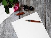 romantic, desk, pen