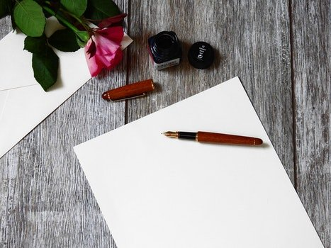 Free stock photo of romantic, desk, pen, table