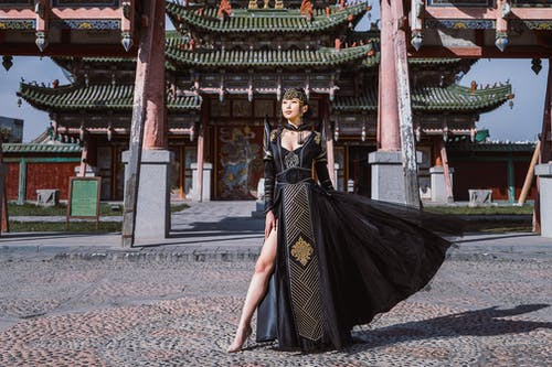 Woman Wearing Black Chinese Dress