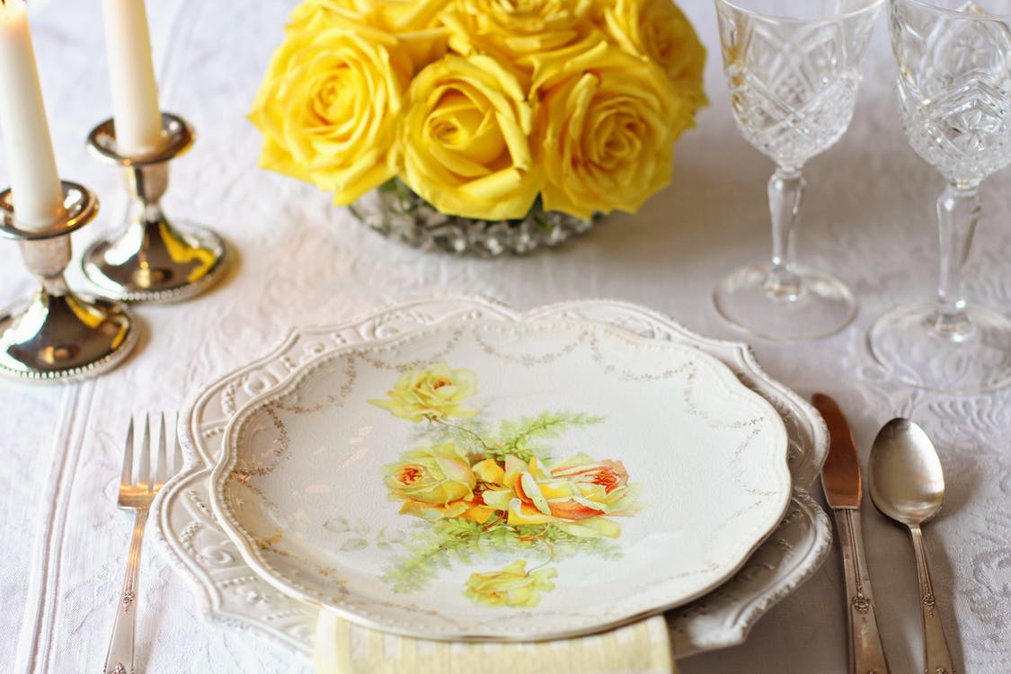 Oval White Floral Plate on Plate