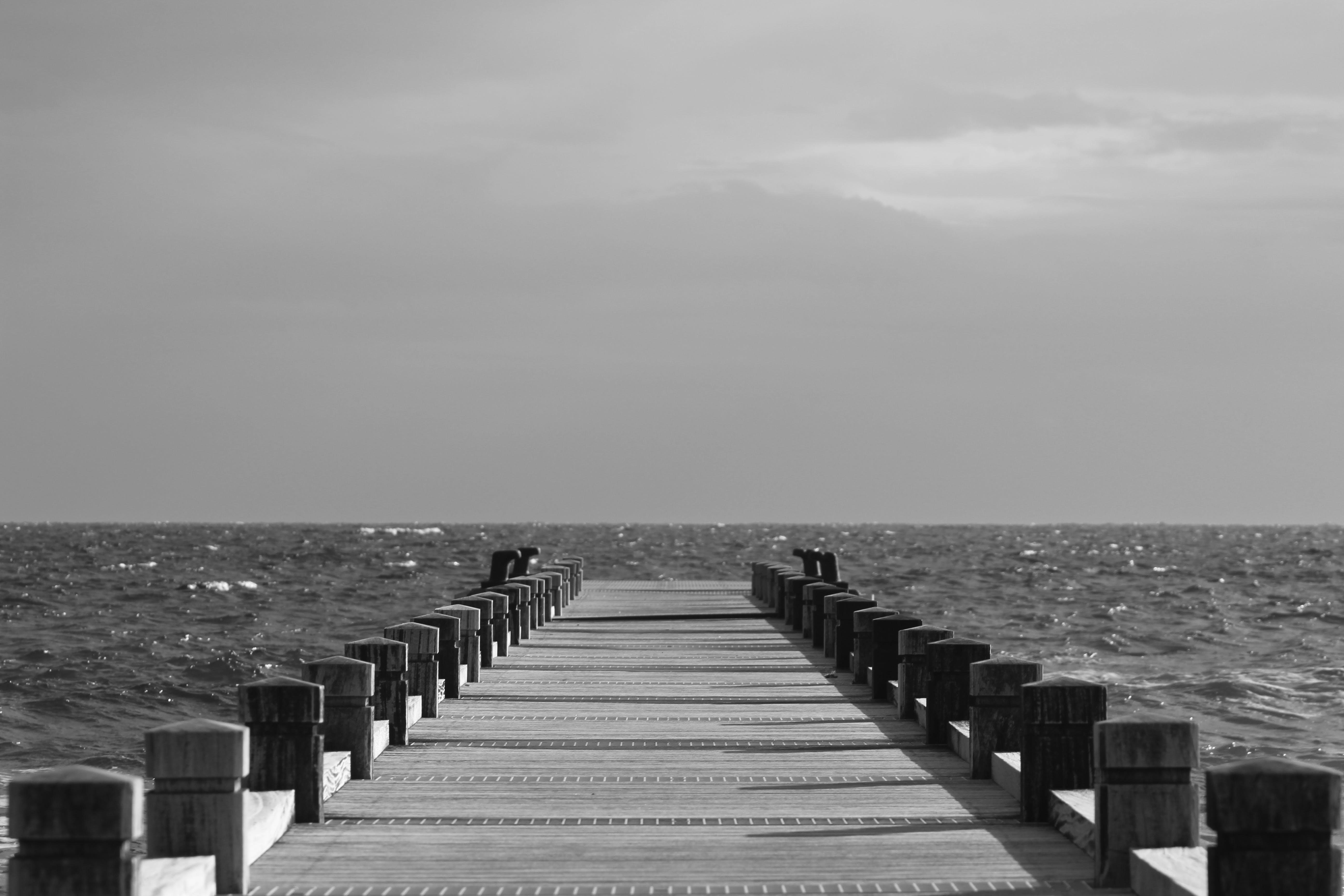 beach, black-and-white, boardwalk