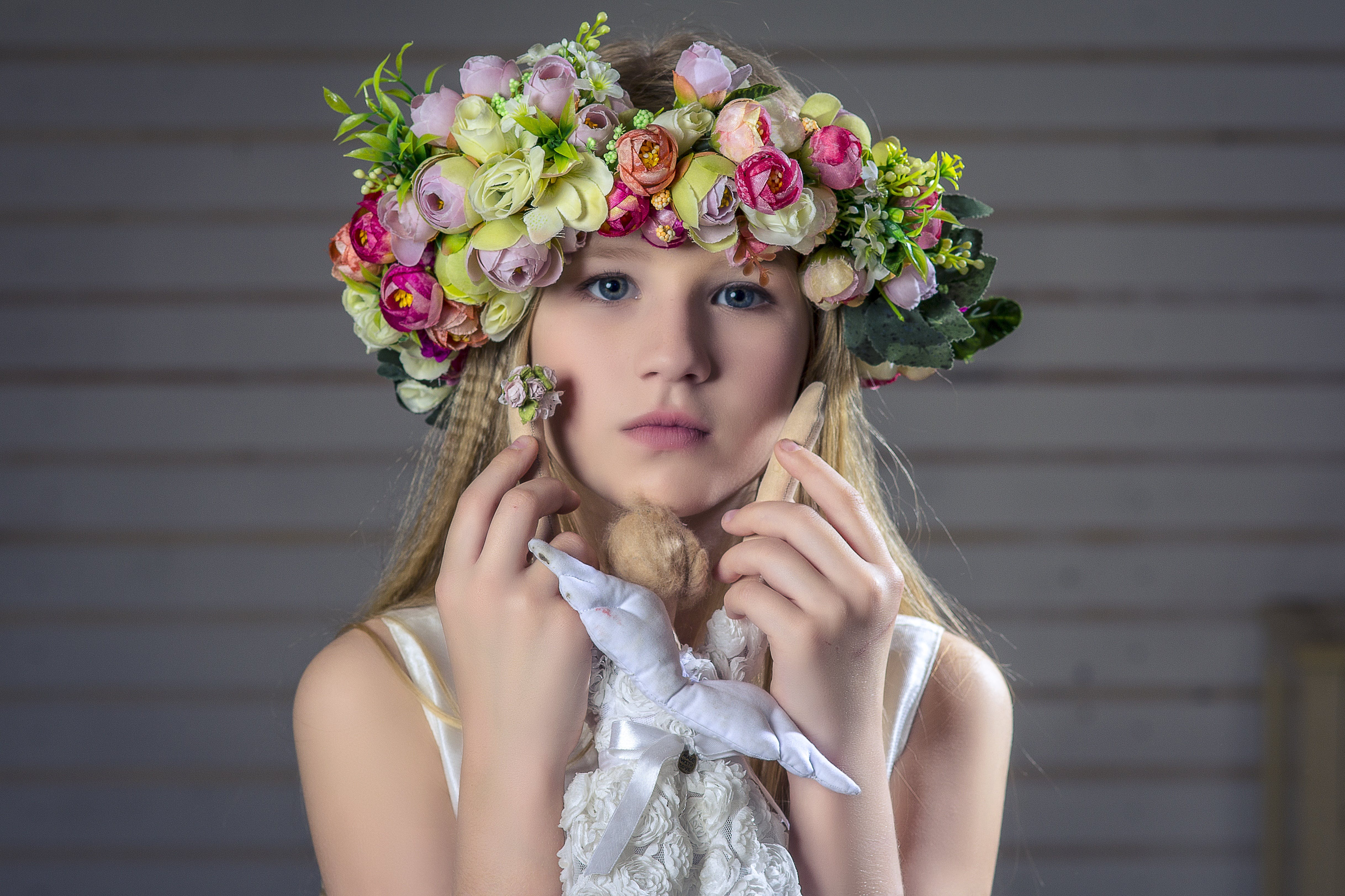 Girl Wearing Floral Headband