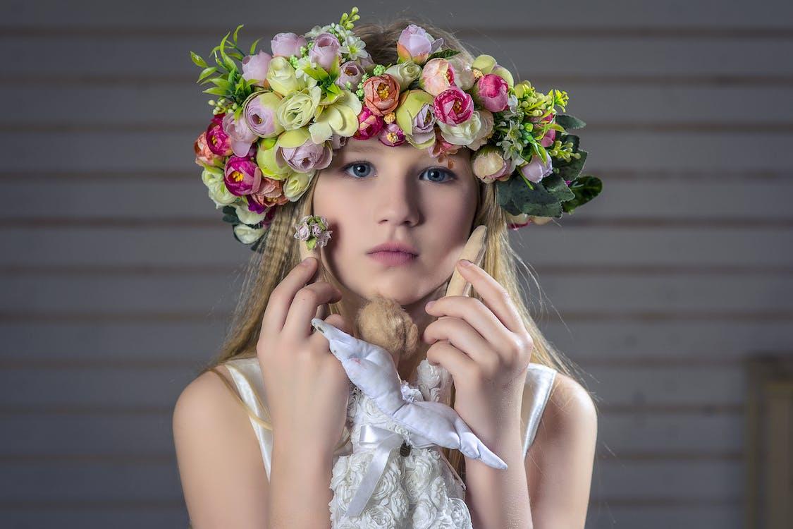 Girl Wearing Floral Headband