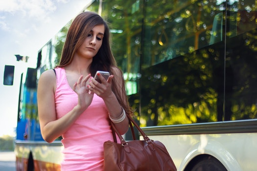 Free stock photo of woman, smartphone, girl, bus