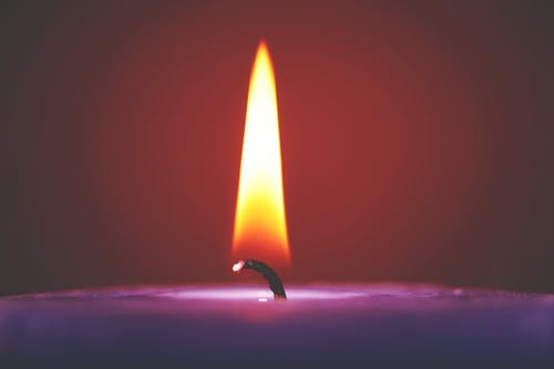 Selective Focus of Purple Candle