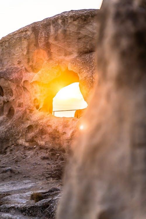 돌, 동굴, 아름다운 석양, 아침 해의 무료 스톡 사진