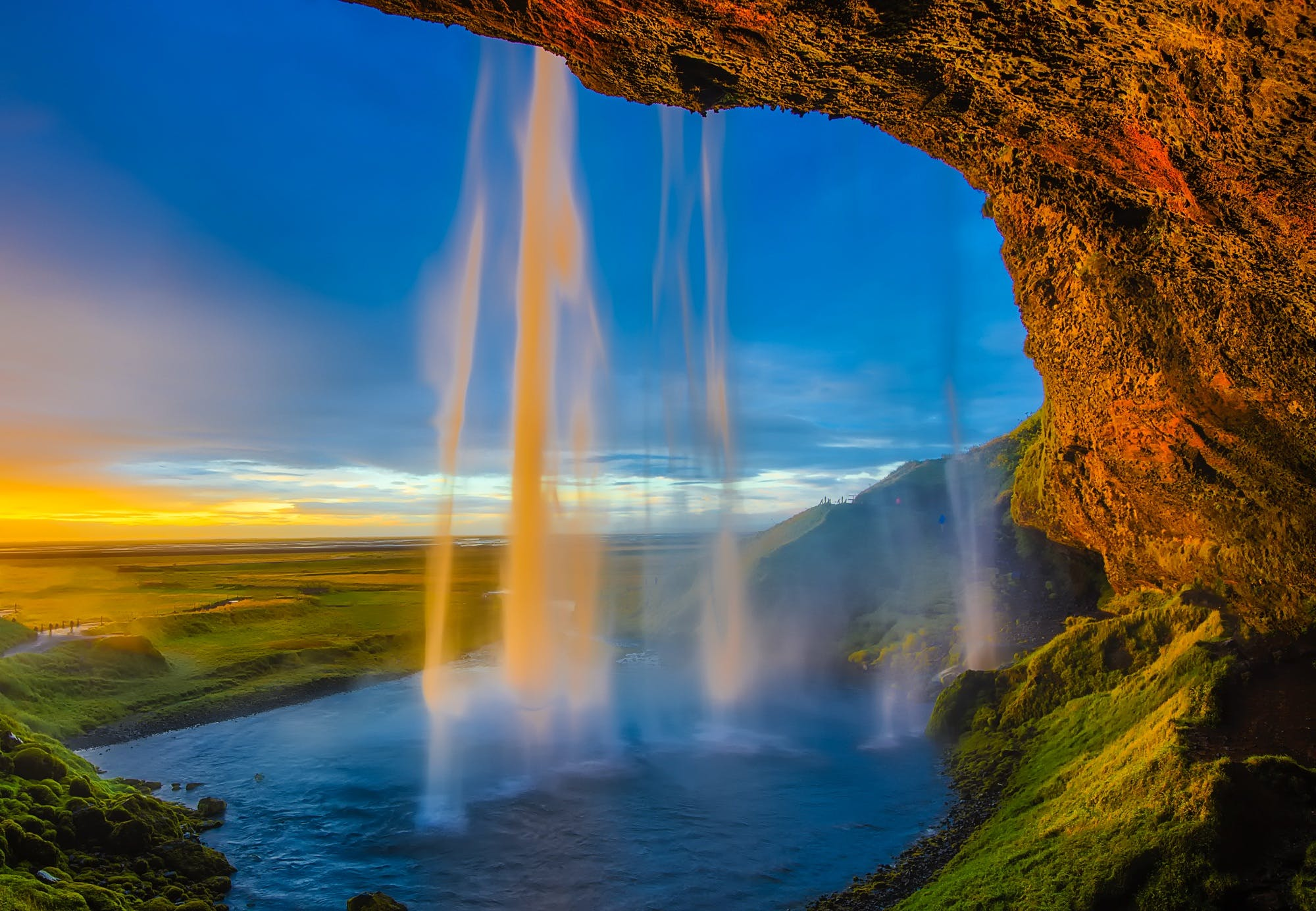 cascade, cliff, clouds