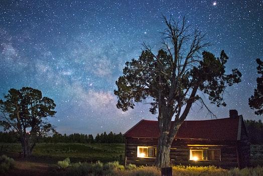 Kostenloses Stock Foto zu beleuchtung, bäume, haus, bauernhof