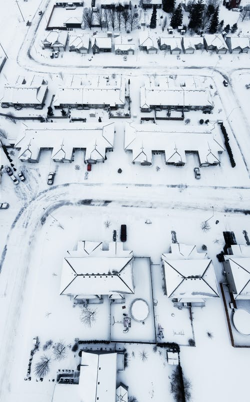 Bird's Eye Photography of Snow-covered Structures