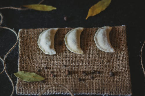 Dumplings Beside Leaves and String
