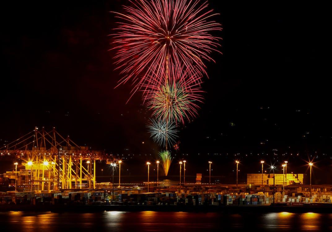 celebration, city night, fireworks