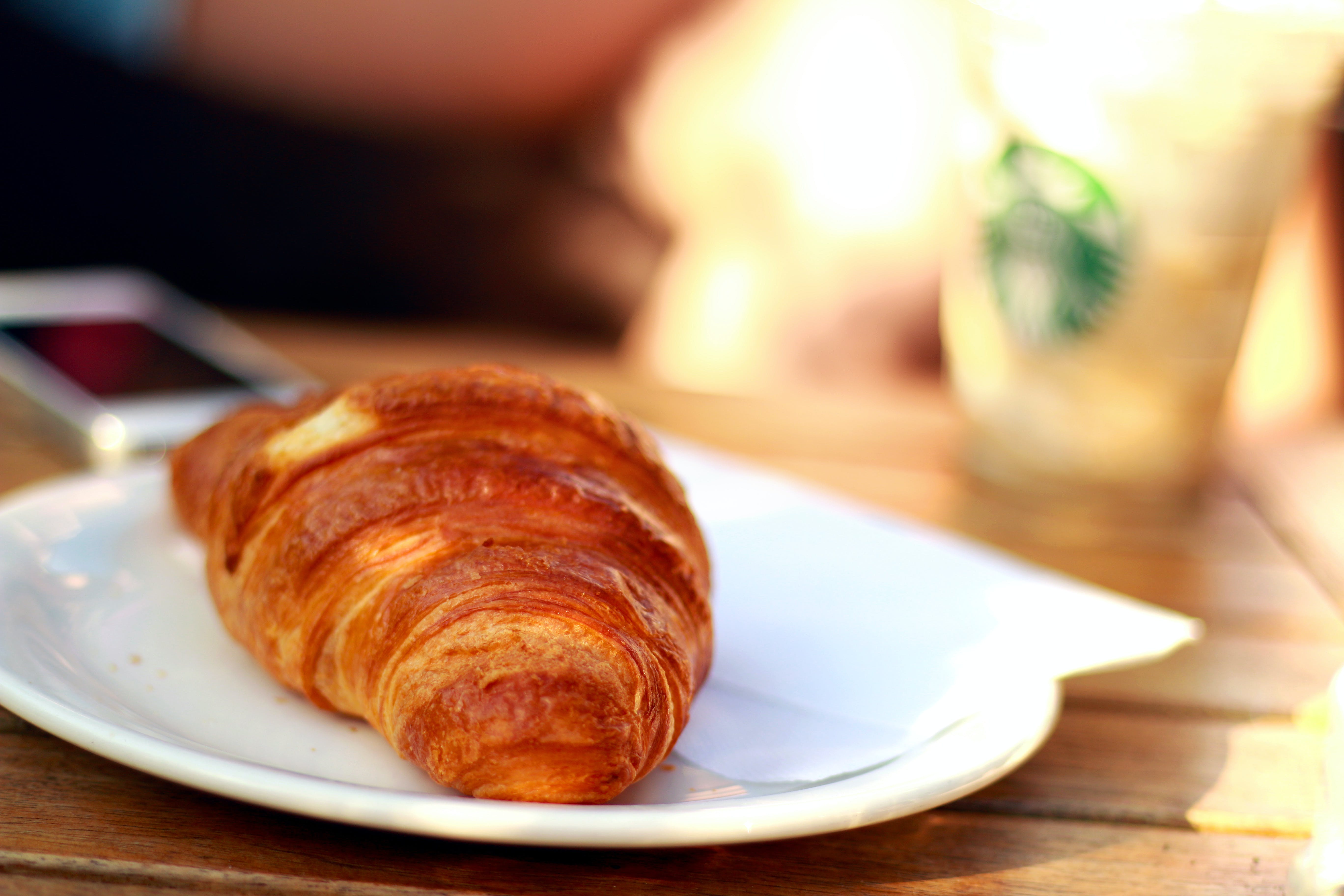 Croissant Bread on White Ceramic Plate
