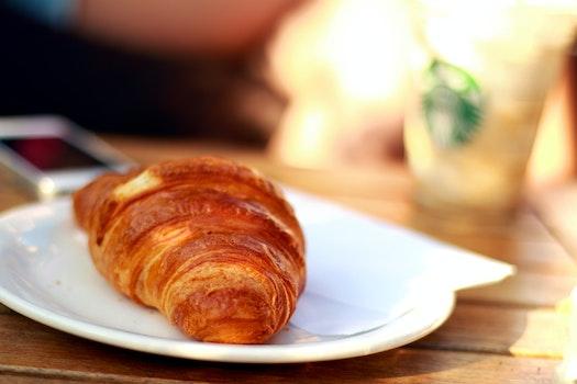 Free stock photo of morning, breakfast, croissant