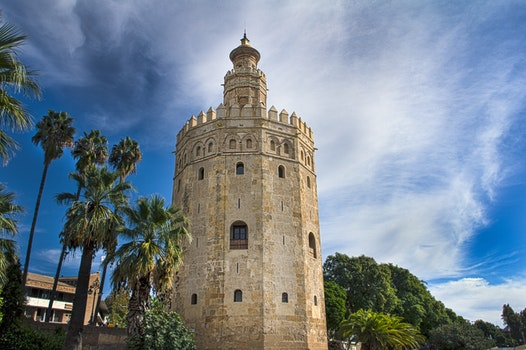 Free stock photo of river, tower, spain, gold