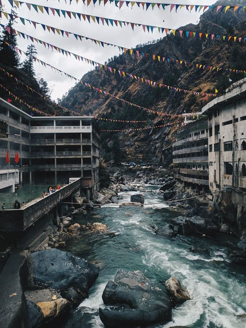 River Between Buildings