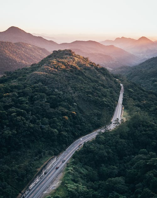 Aerial Photography of Road Near Mountains
