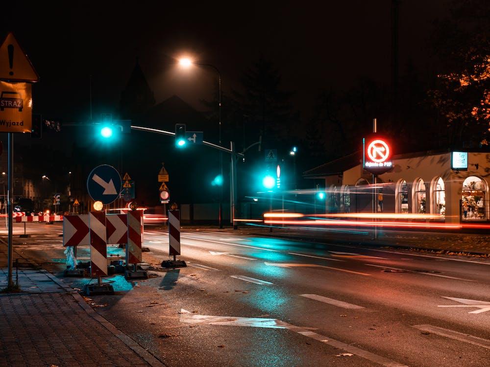 Turned-on Blue Traffic Light