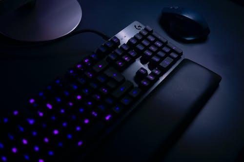 Free stock photo of aluminium, blue, computer desk, computer keyboard