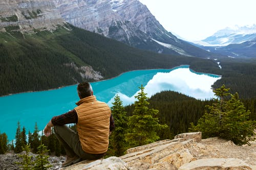 Man Sitting Near Lake