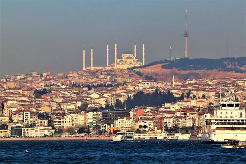 Free stock photo of a mosque, apartment buildings, dome, Istanbul