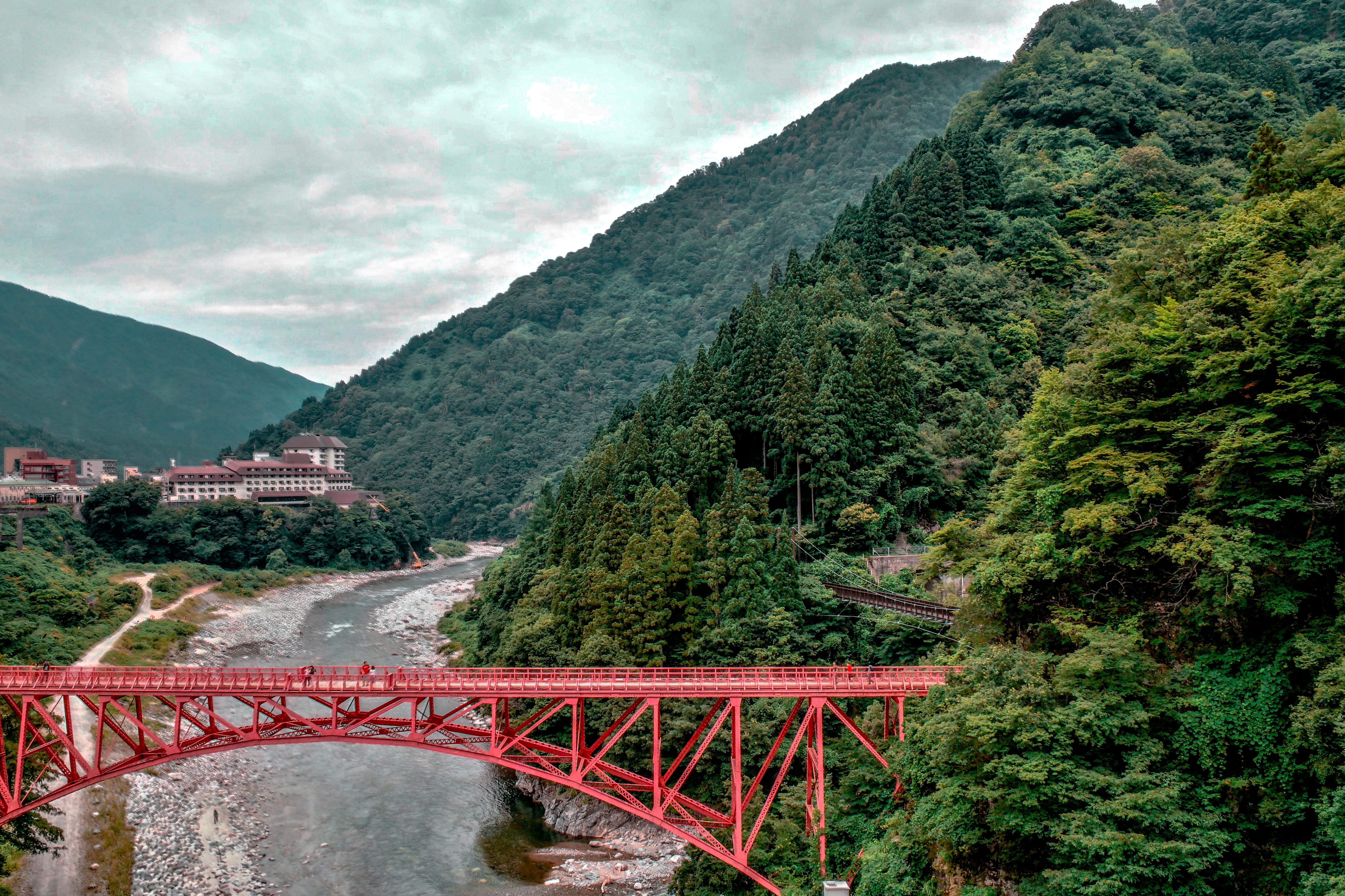 Hanging Bridge and View of Mountains