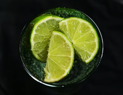 Lime Slices in Drinking Glass
