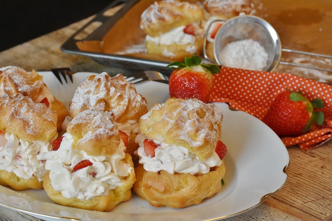 aardbeien, bakken, bord