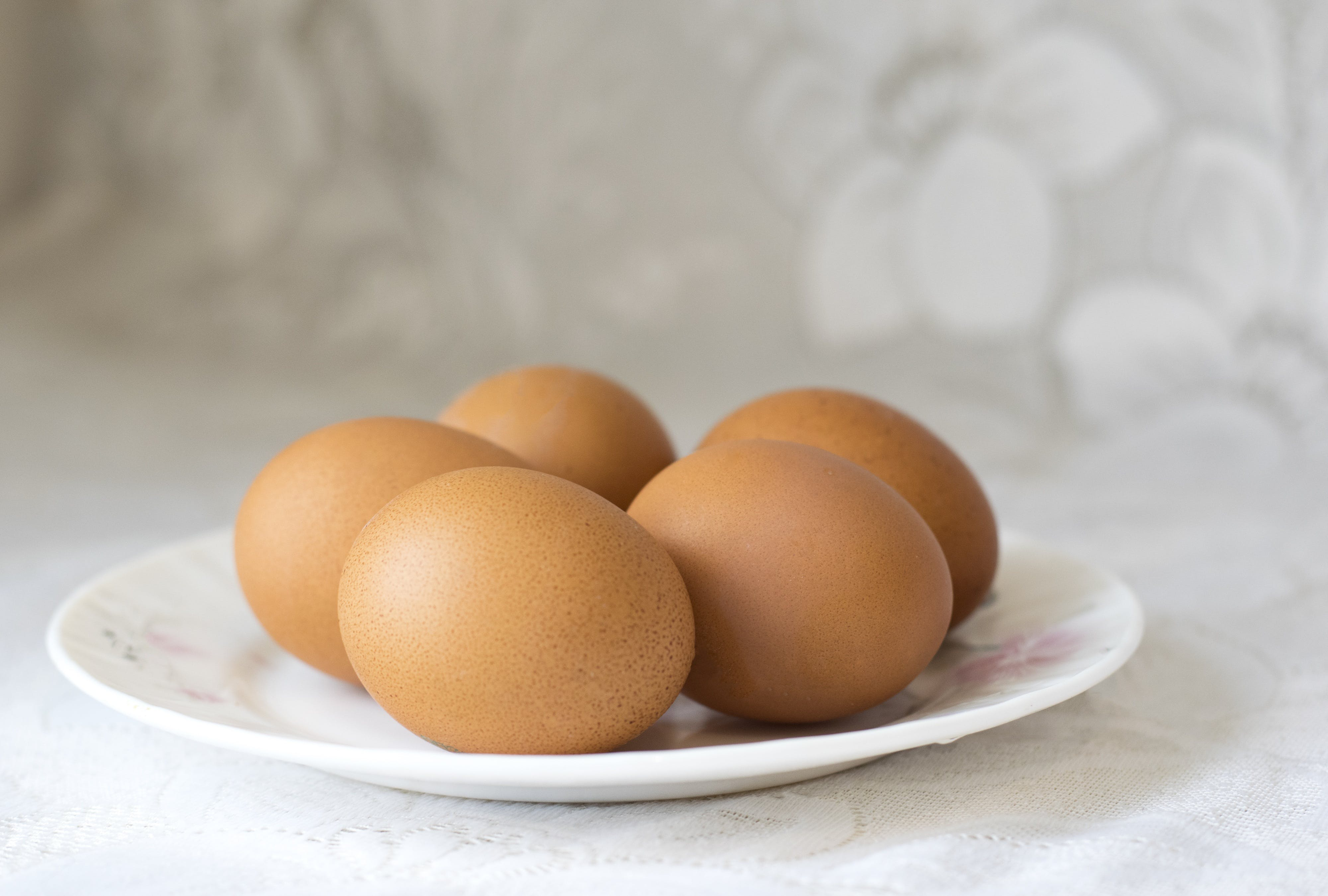 Five Organic Eggs on Plate