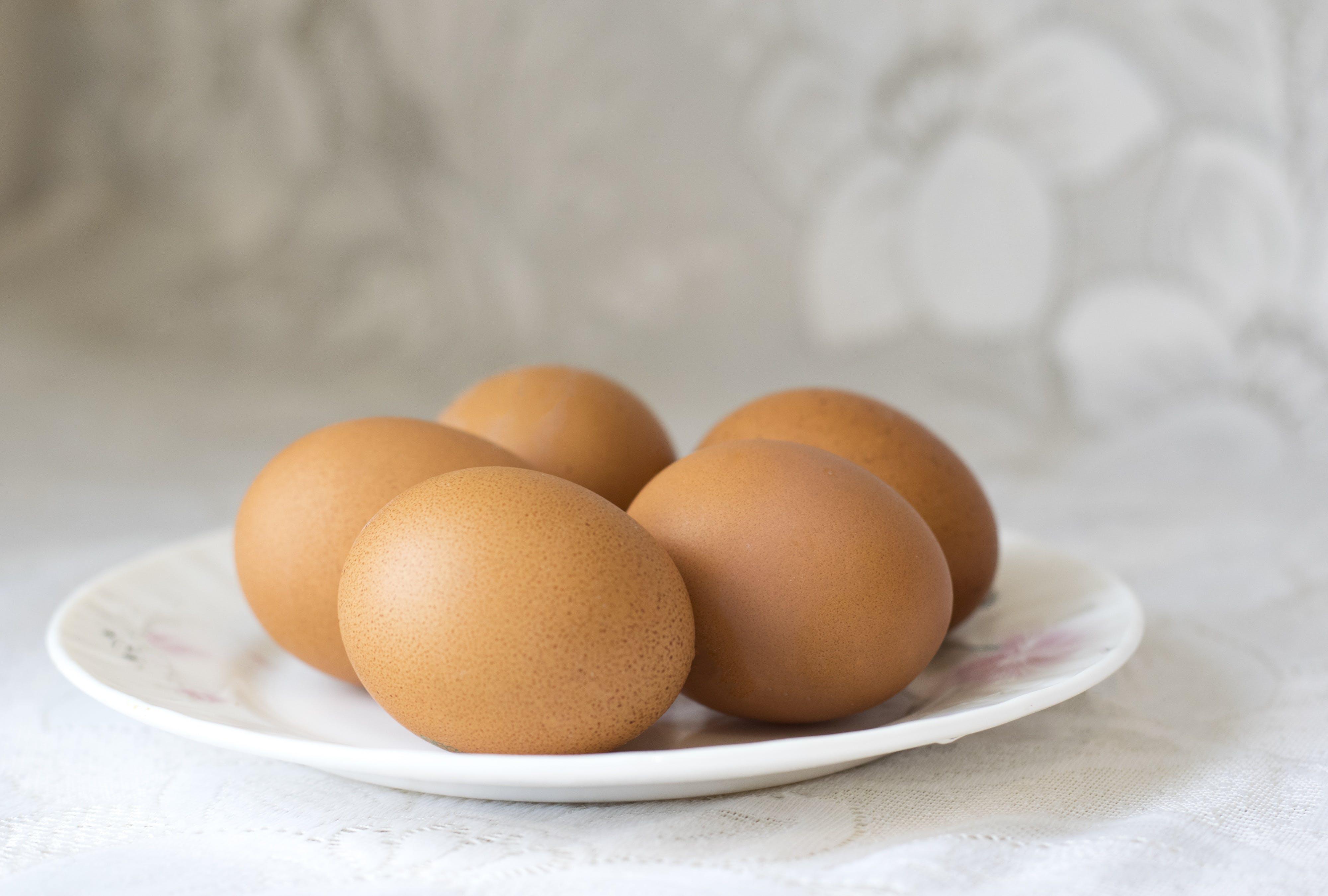 Five Organic Eggs on Plate