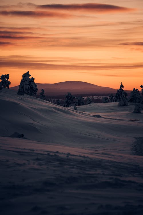 Snow Capped Landscape During Sunset