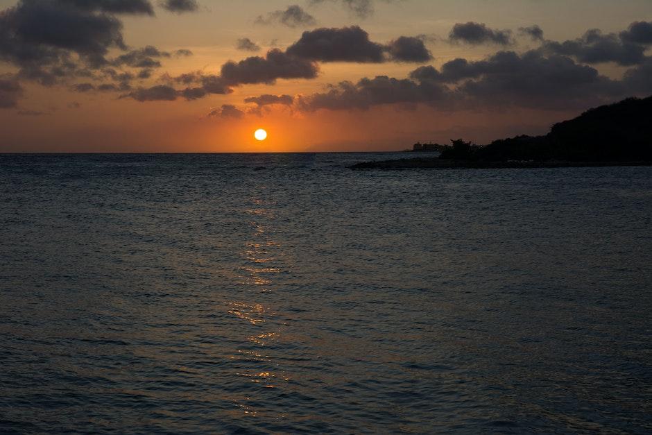 dusk, ocean, sea